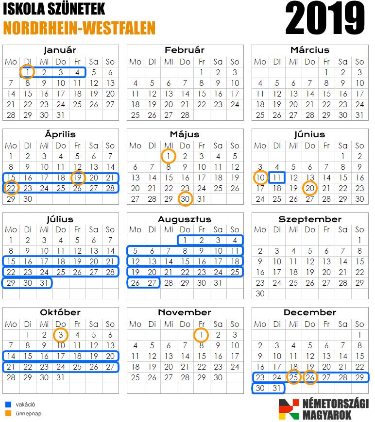 Munkaszüneti- / Ünnepnapok NRW-ben 2019