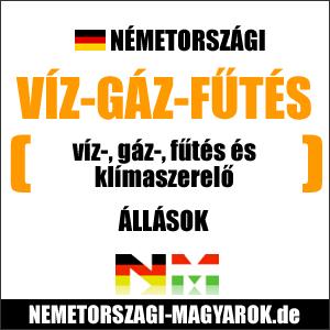 Víz-, Gáz-, Fűtésszerelő állások Németországban. Németországi víz-gáz-fűtésszerelő munka.