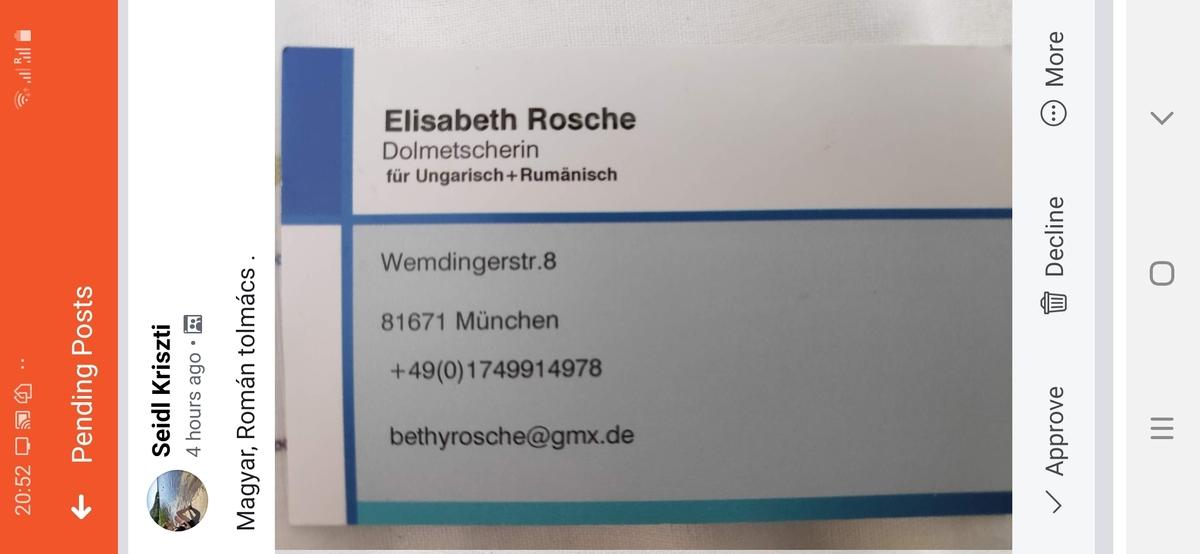 Elisabeth Rosche magyar-román tolmács