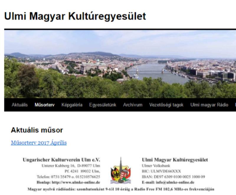 Ulmi Magyar Kultúregyesület ulmke-online.de